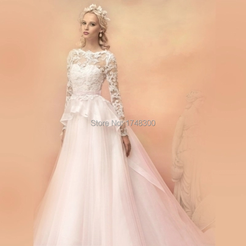 Fake Two Piece Ball Gown Organza Wedding Dress Long Sleeve Back See ...