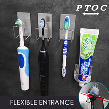 PTOC 304 нержавеющая сталь хранения Настенный стенд крючки с присосками для зубные пасты Зубная щётка Держатели и стойки для хранения