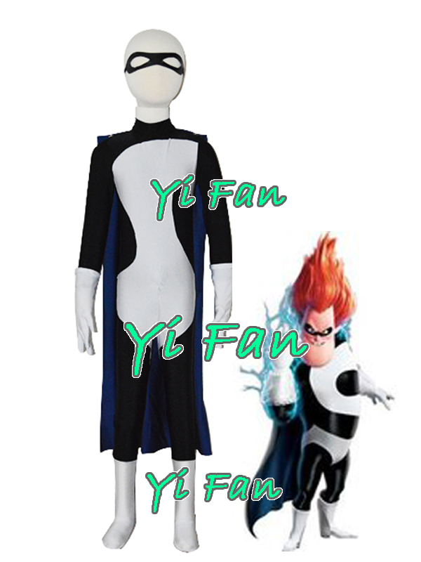 Kids The Incredibles Syndrome Buddy Pine Superhero Costume Lycra Spandex Cosplay Costume for Halloween Kids/Children