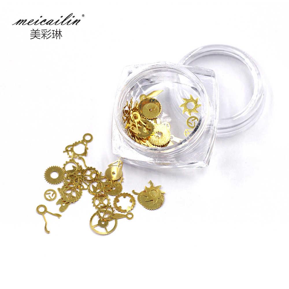 1 caja Ultra-delgada estilo Punk diamantes de imitación para uñas pendientes 3D arte de uñas decoración de uñas suministros basicos de oro de vapor de ruedas nailart herramientas