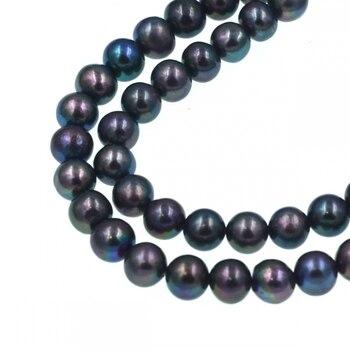 9a51f2356ef1 Cuentas de perlas de agua dulce negras arcoíris redondas de 5-6mm ...