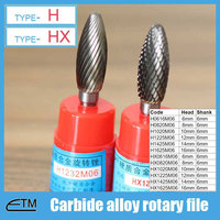 1 Piece Tungsten Carbide Alloy Rotary File Milling Cutter Drill Bit For Carving Sculpture Type H