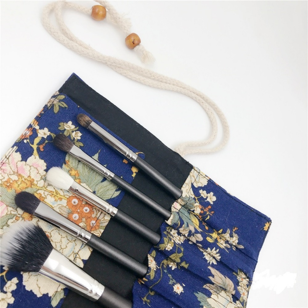 Blue 10 Slots Cotton Cosmetic Bag Makeup Brushes Kit Case Handbag Pouch Women Girl Fashion Portable Makeup Bag 100 Handmade in Eye Shadow Applicator from Beauty Health