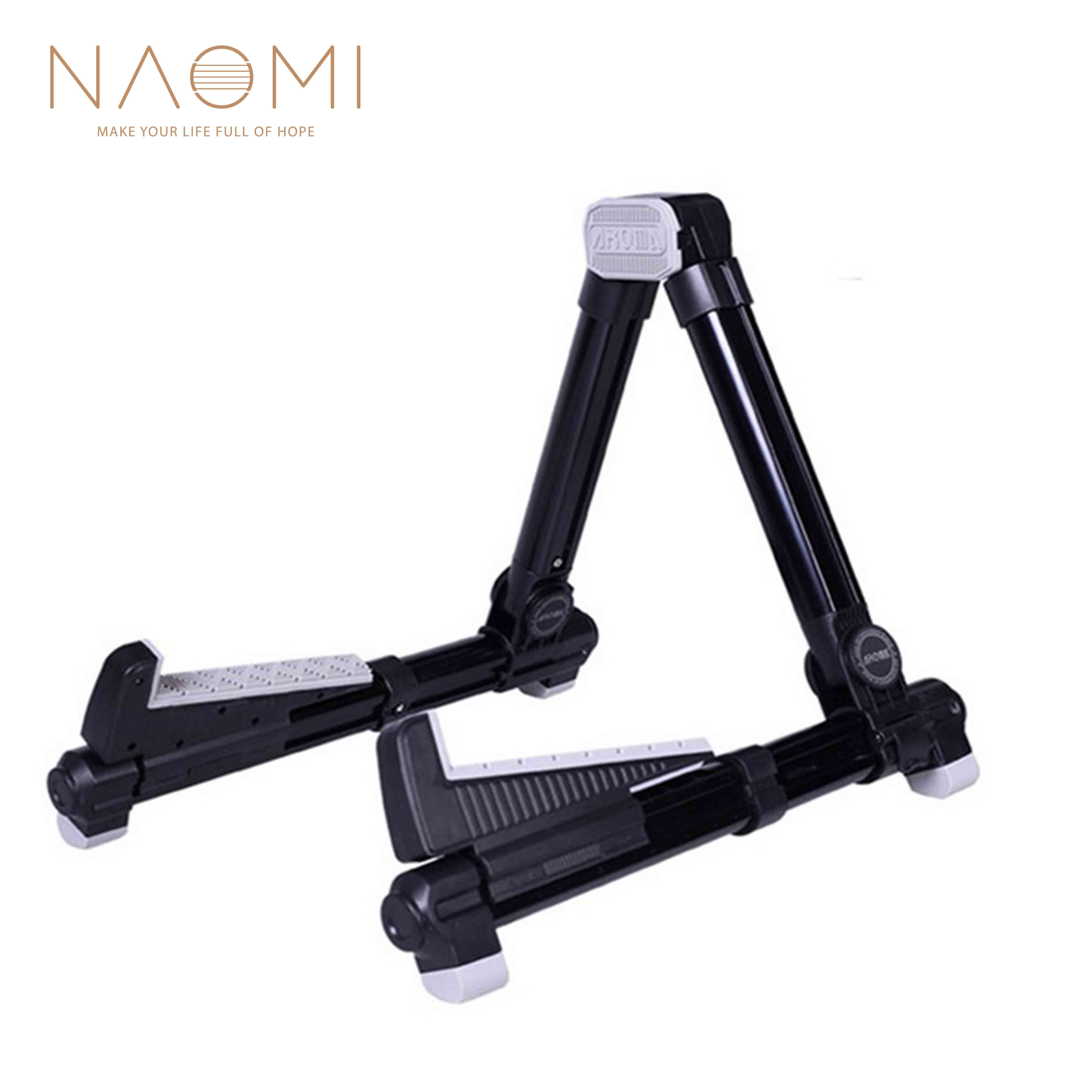 NAOMI AROMA AGS 08 Electric Guitar Stand Folding Adjustable Guitar Stand Aluminum Alloy A Frame Stand Black