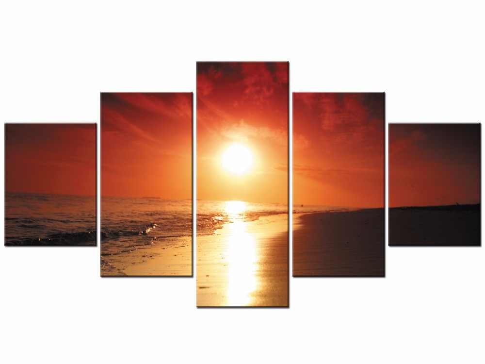 5 Pieces Wall Art Seaside At Sunset Painting The Picture Print On Canvas For Home Decor Decoration Gift Framed J009-021