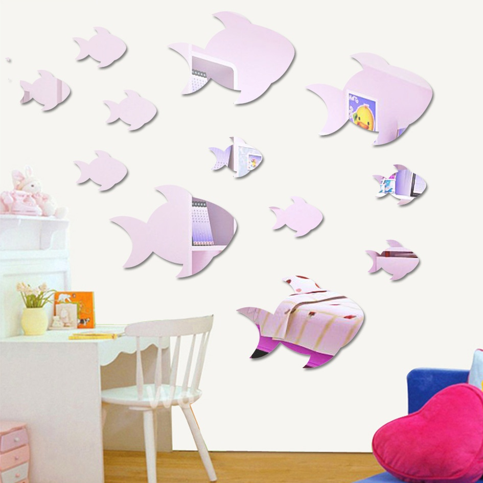 Sticker mirror picture more detailed picture about lovely lovely swimming fish acrylic wall mirror stickers for kids nursery girl boy bedroom wall deco amipublicfo Image collections