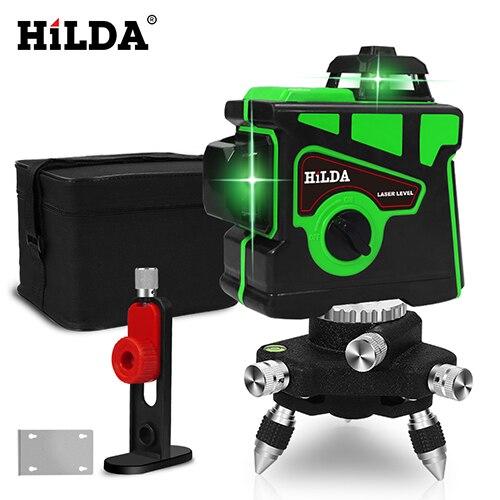 HILDA лазерный уровень 12 линий 3D уровень самонивелирующийся 360 горизонтальный и вертикальный крест супер мощный зеленый лазерный уровень - Цвет: SET4