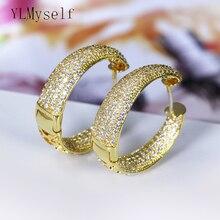Купить с кэшбэком Micro pave zircon Crystal hoop earrings jewelry copper jewellery fast shipping circle round earring for women