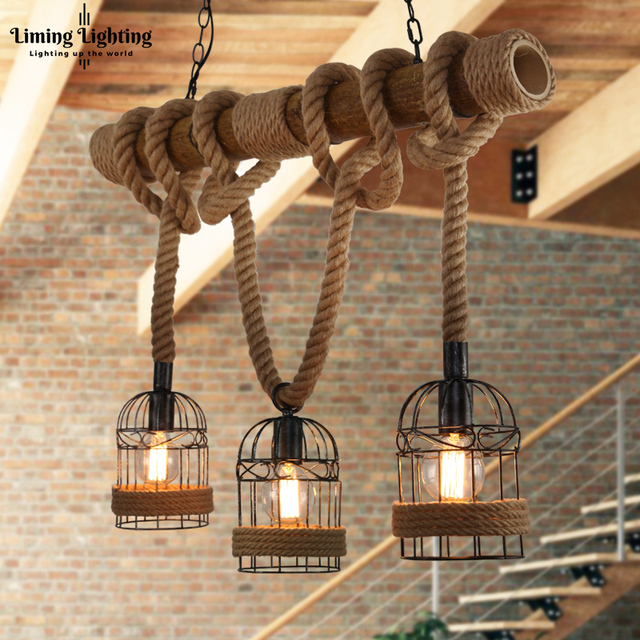Loft Vintage Rural Pendant Lights Hemp Rope Bamboo Iron Cage Lamps Hand Knitted Lighting Fixtures