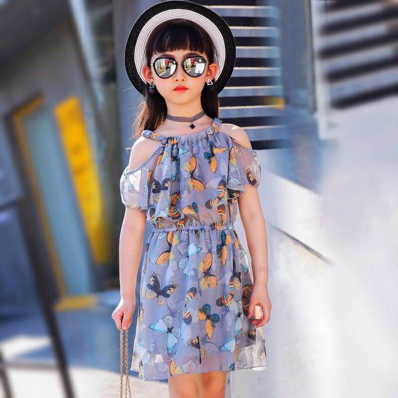 Grandes gasa de las muchachas adolescentes del vestido niñas vestidos verano 2018 niños ropa tamaño para 3 4 5 6 7 8 9 10 11 12 años