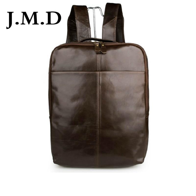 лучшая цена J.M.D Unisex Vintage 100% Genuine Leathe Backpack For Teenage School Bag Shoulder Bag 2 Color 7280