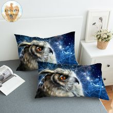 Time Traveler Owl by KhaliaArt Pillowcase 3D Printed Sleeping Pillow Case Look Up Galaxy Bedding Ponder Bird Pillow Cover 2pcs(China)