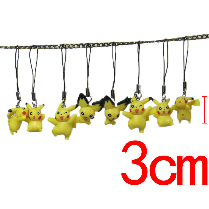 8pcs/lot Cute <font><b>Cell</b></font> <font><b>Phone</b></font> <font><b>Strap</b></font> <font><b>Lovely</b></font> Kawaii Pikachu PVC Mini Figures <font><b>Doll</b></font> Anime Cartoon Keychain Handbag Charms Figure Toys