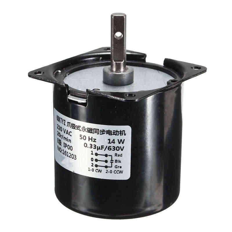 60 KTYZ 220 V 14 W постоянный магнитный синхронный переменного тока мотор шестерни машина 50Hz 20R/мин Мотор аксессуары