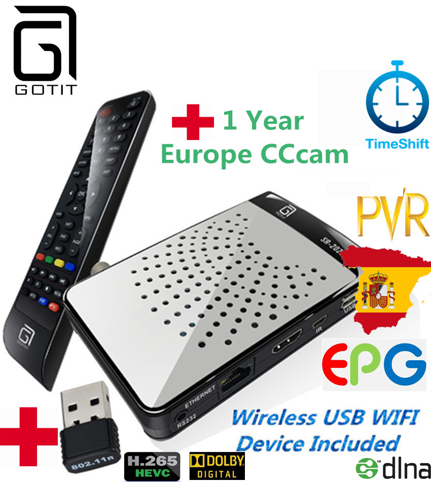 MINI DVB S2 SR2025HD Sunplus1507 Chipset H 265 Satellite receptor with 1 Year Europe CCcam Account
