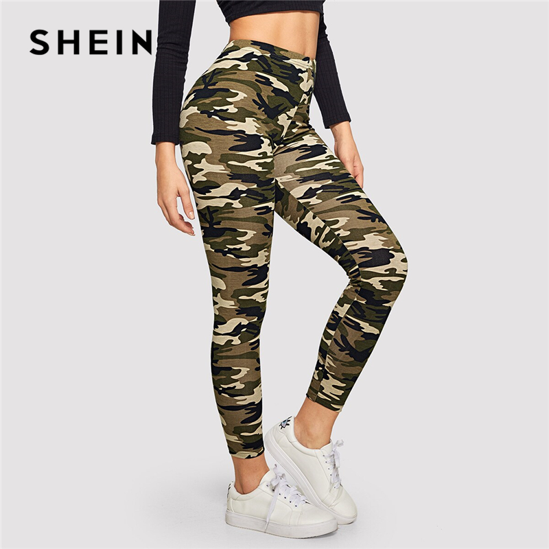 SHEIN Camo Print Leggings Women Leggings 2019 Casual Style Spring Summer Autumn Stretchy Fitness Crop Leggings