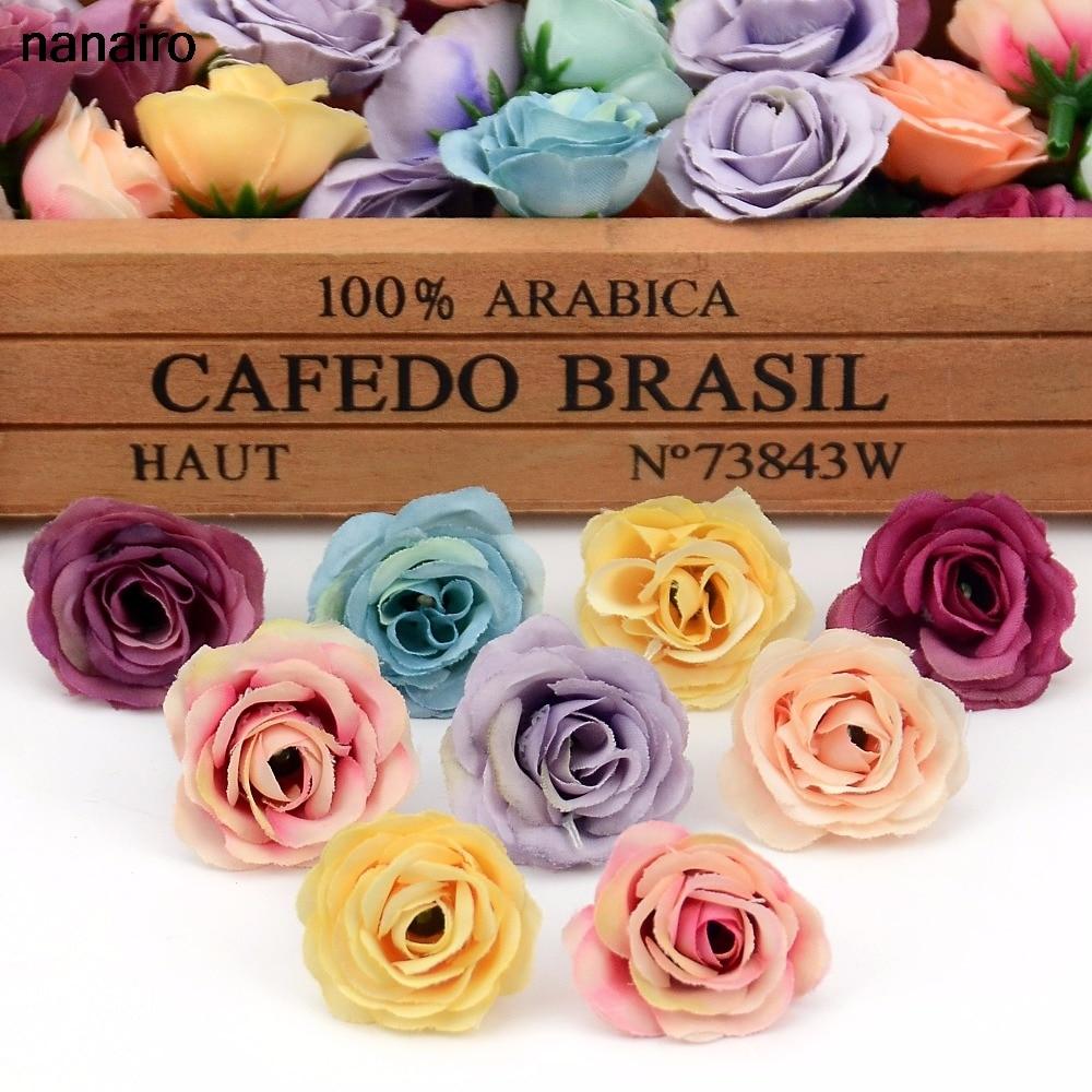 20 шт., 2,5 см, маленькая шелковая Роза для украшения свадебной вечеринки, венок ручной работы, аксессуары для рукоделия, искусственные цветы