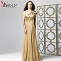 2015 Floor-Length A-Line Bridesmaid Dresses Gold One Shoulder Chiffon Maid of Honor Dresses Long Party Dresses