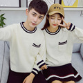 2016 Spring Autumn Men/Women Unisex Couple Casual Long Sleeved O-neck Pullover Loose Knitted Striped Sweater Black/White/Gray