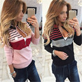 Womens Autumn V-Neck Long Sleeve Knit  Jumpers Pullover Tops Sweater Female Sweaters
