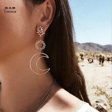 Tocona-pendientes colgantes largos de plata de primera ley para mujer, aretes largos, oro rosa, Luna, Sol, estilo bohemio, 3023