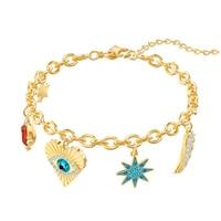 Swa Original 1:1 Lady Lucky Element Exquisite Wild Demon Eye Amulet Charming Fit Women Bracelet Jewelry Fashion Gift