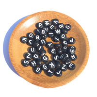 Wholesale 3600PCs Lot 4 7MM Flat Coin Round Shape Acylic Letters Beads Black With White Alphabet