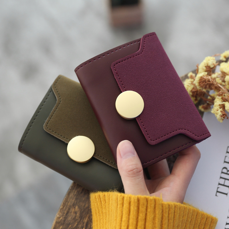 BLEVOLO Lady Short Money Clips Metal Hasp Female Purses Trifold Fashion Short Wallet Coins Card Photo Holder Wallets For Women