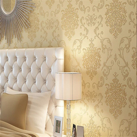 Beibehang European Style Damascus Texture Wallpaper Bedroom Living Room TV Sofa Background Wall Flocking Bronzing 3d