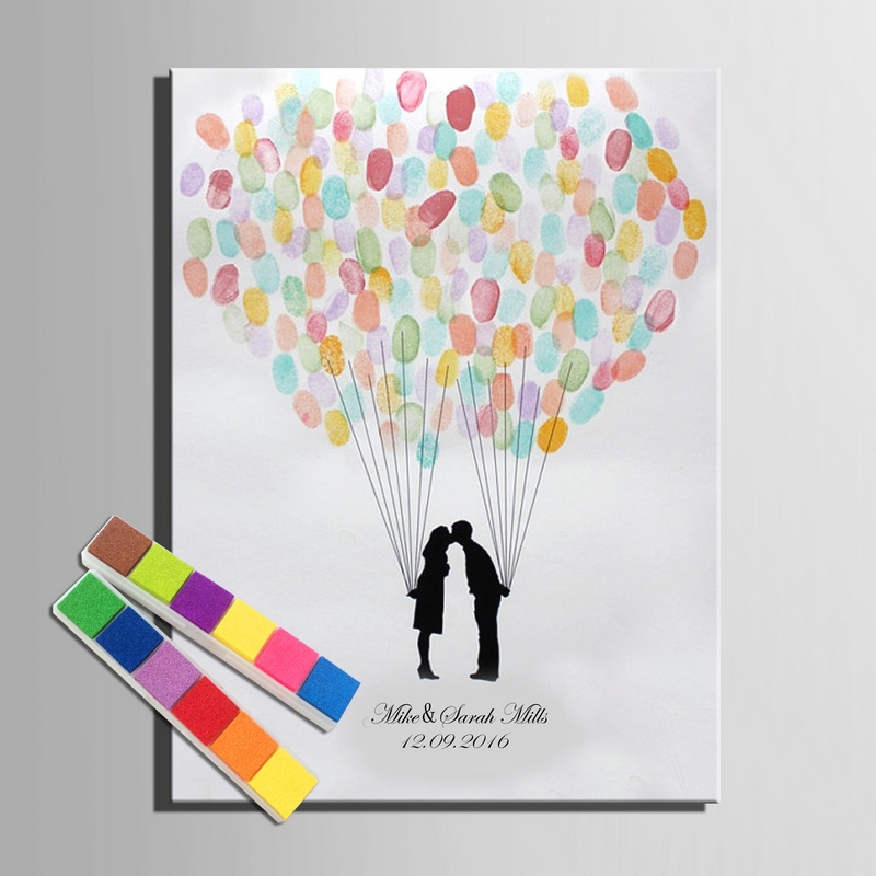 Fingerprint signature canvas painting loving balloon for Balloon decoration book