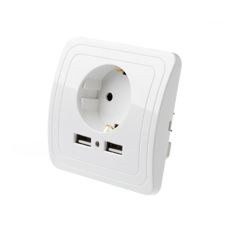 Dual USB Port 5V 2A Electric Wall Charger Adapter EU Plug Socket Switch Power Charging Outlet usb 4 port 5v eu plug charging adapter w socket switch for iphone ipad more white 100 240v