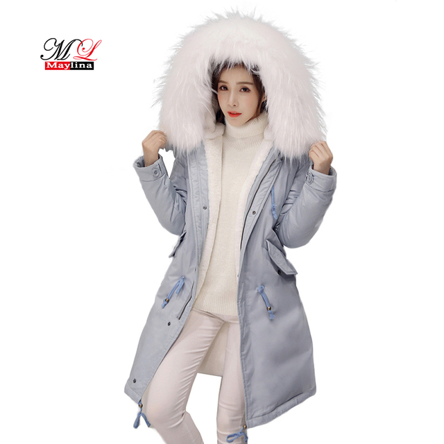 Maylina 겨울 여성 긴 두꺼운 따뜻한 코튼 재킷 후드 코트 여성 모피 칼라 슬림 자켓 여성 파카 겉옷 외투