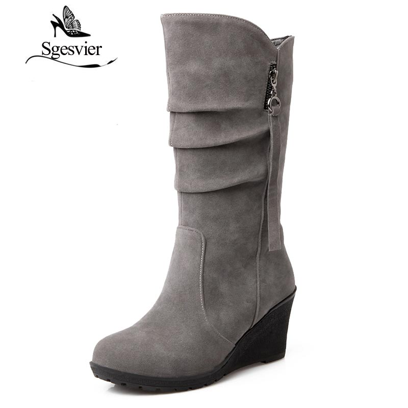 SGESVIER winter boots Woman half knee boots wedge heel Female Fashion boots Outdoor Snow Boots for Women botas size 28-52 OX003