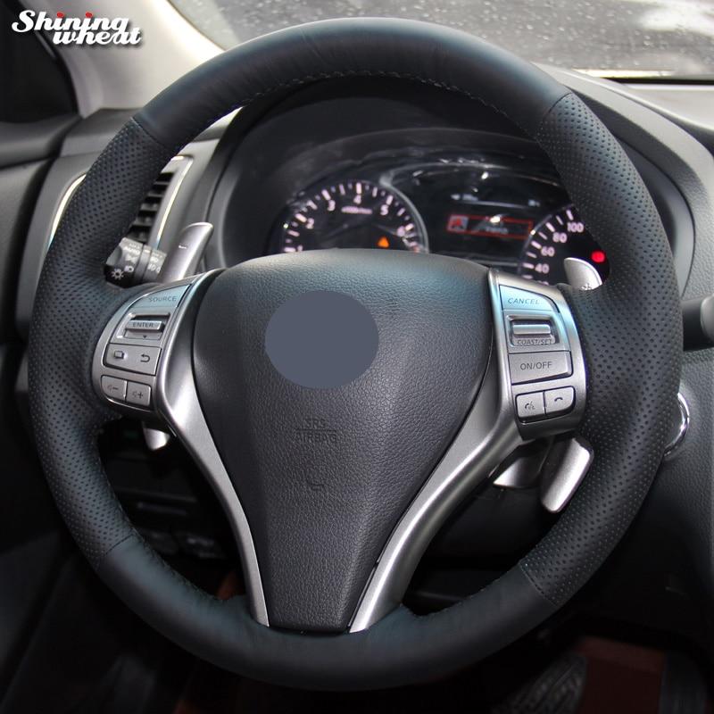 Brillant blé Noir Véritable Couverture de Volant En Cuir pour Nissan 2013 Teana 2014 X-trail QASHQAI Sentra