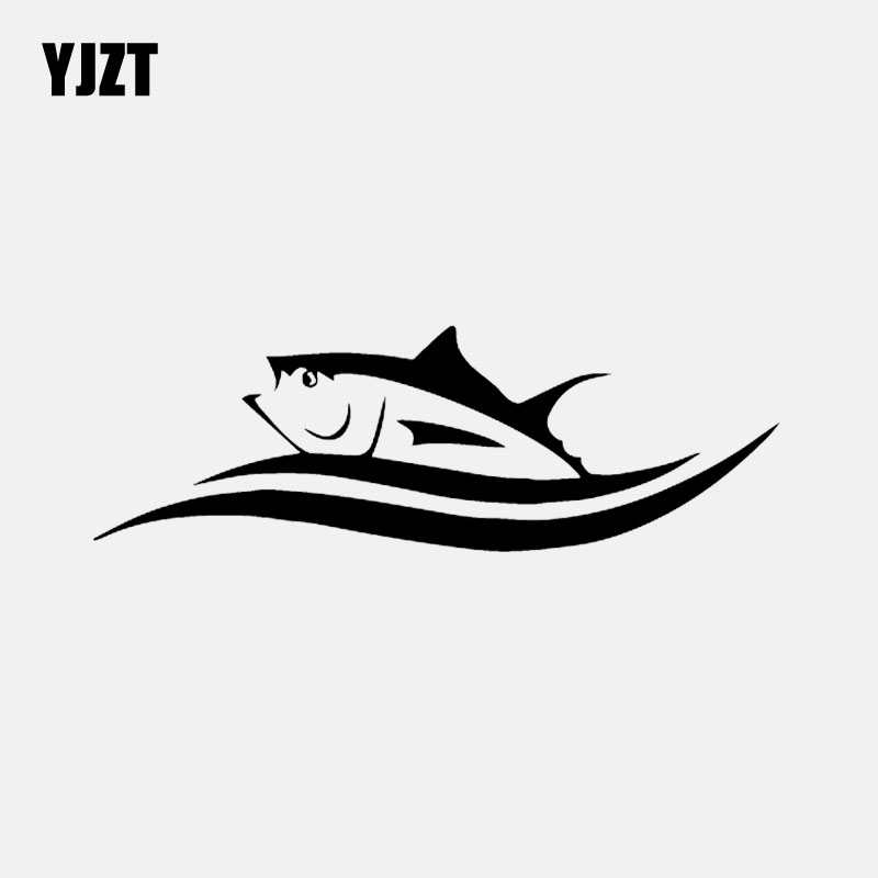 YJZT 17CM*5.6CM Vinyl Decals Cartoon Fish Tuna In Waves Car Sticker Black/Silver C24-0811