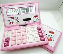 2017 Hello Kitty New Cute Calculator Folding Cartoon Calculadoras Dual Solar Power Desktop Calculating