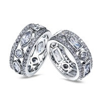 Wedding Ring Latest Design 2 Pcs Set Rings 18k Gold And Rhodium Plated White CZ Ring