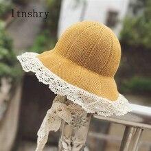 2019new лето девочки кружево дети дышащий соломенная шляпа дети милый девочка Лента шляпа солнца козырек крышка ведра 4-8лет