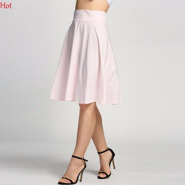 Women Pleated Skirt A-line Saias Flared High Waist Midi Skater Skirts Knee  Length Summer Autumn Pink Black Skirt Hot SV015441 fd2c8d17d
