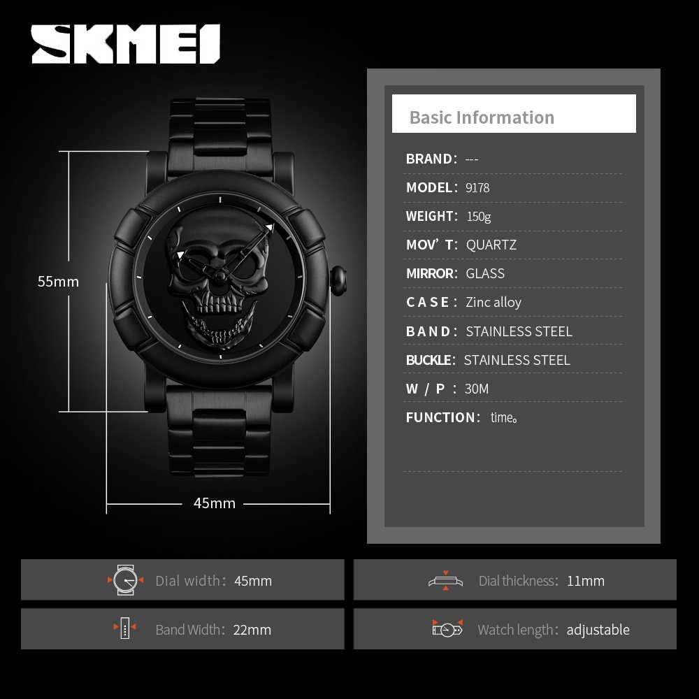 2019 nouvelle mode crâne hommes montres en or montre hommes montre créative étanche Quartz montre-bracelet Relogio Masculino SKMEI horloge