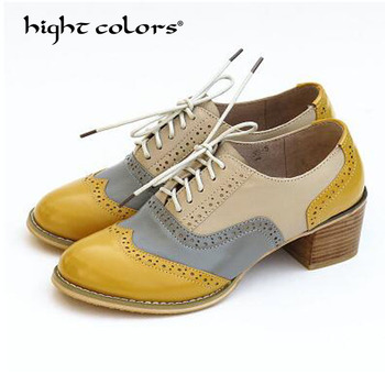 33~42 New 2019 Women Genuine Leather School Shoes Vintage Lace Up Round Toe Oxford Brogue Shoes For Women T-639