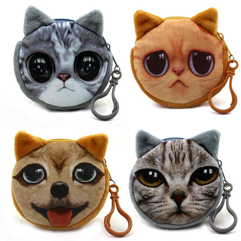 BLEVOLO Cute Cartoon Cats Dog Zipper Coin Purse 3D Meow Star Puppy Plush Girls Small Wallet Portable Kids Change Coin Bags