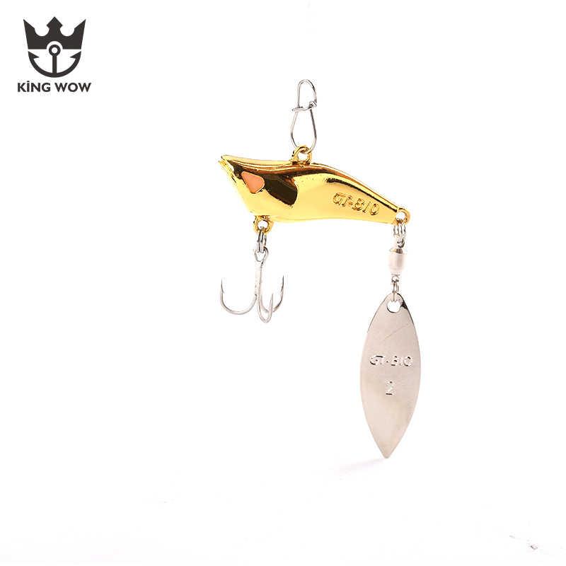 3 قطعة مجموعة 3 سنتيمتر/10g الذهب الفضة سبين سونيك المعادن VIB الصيد الطعم الدورية الترتر خطاف ثلاثي الصيد السحر شحن مجاني