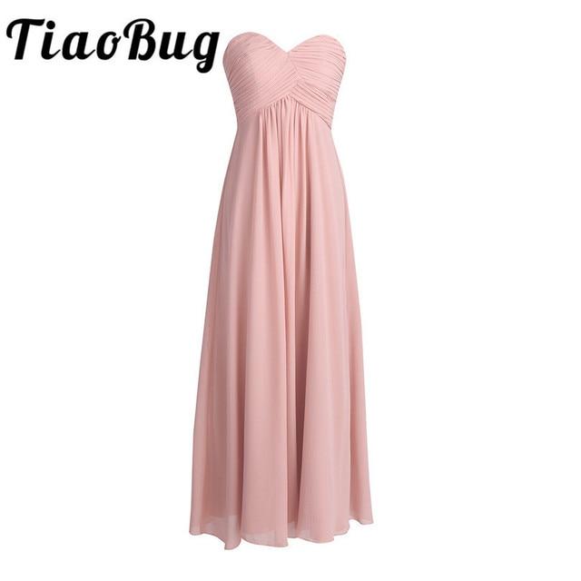 Tiaobug 2020 vestido de dama de honra, vestido formal de dama de honra rosa longo chiffon elegante vestido de festa de madrinha