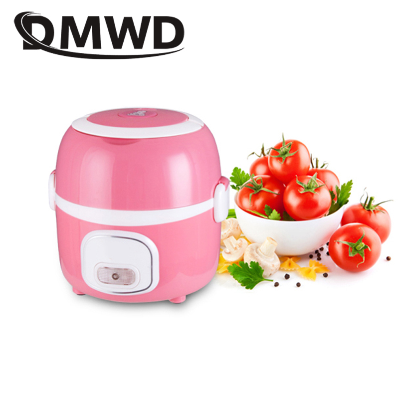 DMWD 1.3L Mini Rice Cooker Portable 2 layers Meal Lunch Box Steamer Thermal Cooking Pot Food Heating Electric Lunchbox Container dmwd 12v 24v mini rice cooker car truck soup porridge cooking machine food steamer electric heating lunch box meal heater warmer