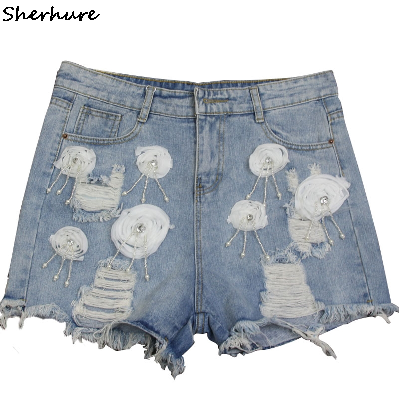 2018 Mode Frauen Zerrissene Hot Blau Shorts Jeans Quaste Loch Hohe Taille Sexy Floral Denim Schließt Weibliche Beiläufige Vintage Shorts Noch Nicht VulgäR