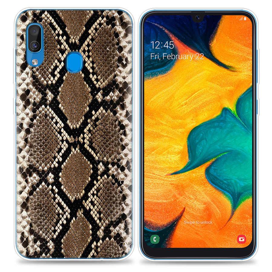 Torby Case dla Samsung Galaxy telefon komórkowy A50 A70 A30 A20 J4 J6 J8 A6 A8 M30 A7 Plus 2018 uwaga 8 9 wzór w cętki skóra węża sztuki