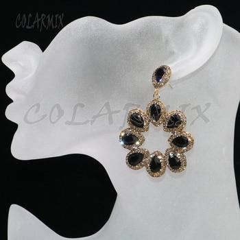 3 pares de pendientes de cristal joyas de cristal joya de piedras preciosas joyería al por mayor para mujer gancho pendiente regalo 6063