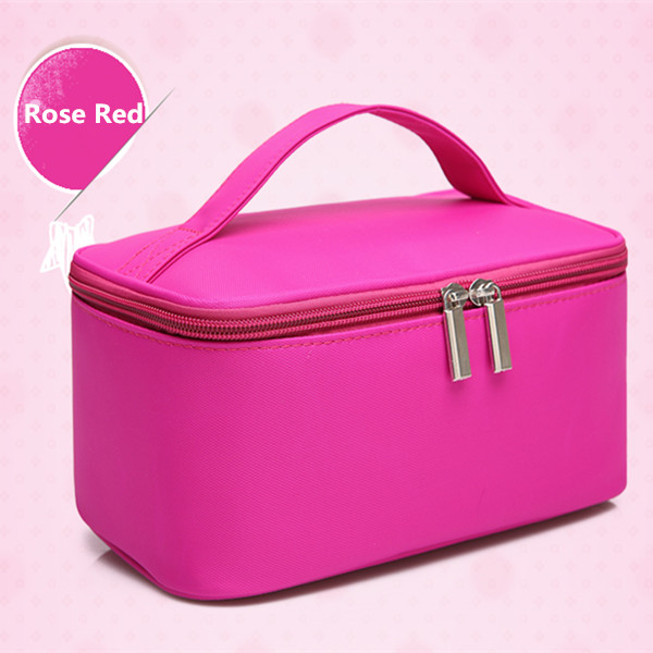 a230864870dd Women's Double Layer Cosmetic Bag Box Waterproof Oxford Makeup Case Travel  Organizer Necessary Beauty Vanity Toiletry Wash Pouch