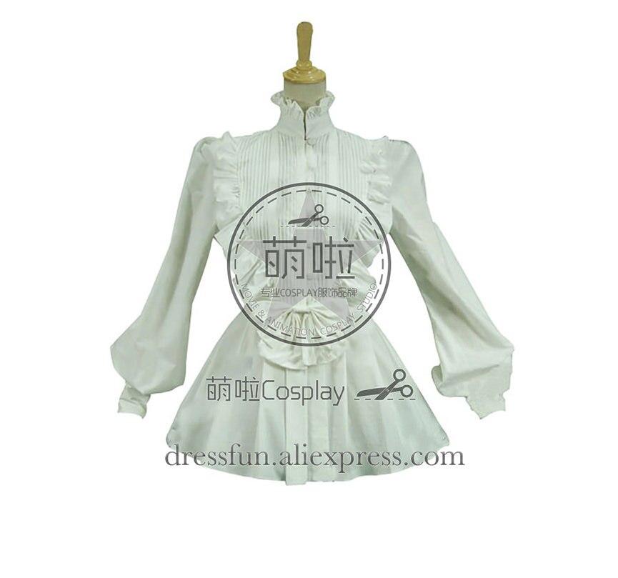 Victorien Lolita reconstitution romantique à volants Blouse gothique Lolita robe avec col montant et volants décorés pour Halloween